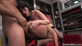 two hot servant and slaves natty and bree anus threesome sex with rocco