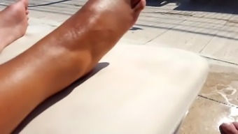 Lovely Gf's oiled sexy feets toes bottoms at combine