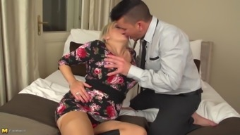 Posh senior mom with the use of big titties hooked by son