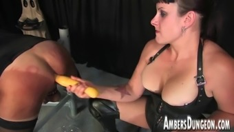 Girlfriend Lux anal passage dilling, strap-on and milking of guys pig