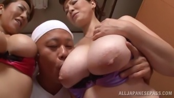 Marvelous Oriental pornstars with the use of great titties get chastisize inside a ffm threesome act