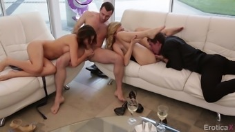 Dual dating hotties have an sensual foursome with their males