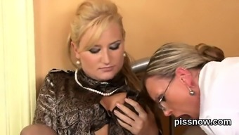 Stunned watchkeeper in intimate apparel is geeting urinated on and drilled