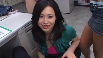 Person-in-charge has a foursome via his Japanese cock touching place of work hookers