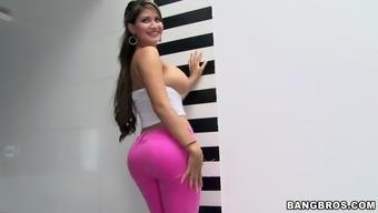 busty latina natalie posing among the wash room