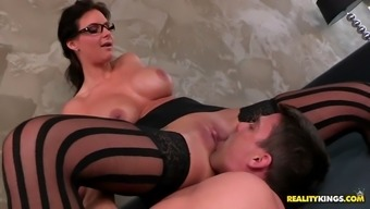 phoenix marie riding his have to face and stroking his major penile during the process