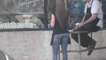 Candid - Youngster Grocery store Employees Superb Booty in Small Blue jeans