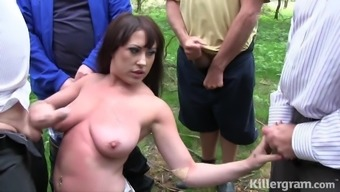 Busty slut gets covered in sperm dogging