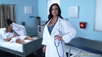 A blessed with good luck guy fucks a gorgeous look after and warm female health professional at once