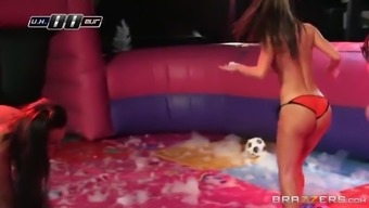 anissa kate and franceska jaimes taking part in nude flying disc