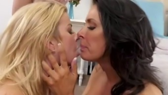 Wayward Mom Alexis Fawx And Mother Reagan Foxx In Stockings Gets Threesome