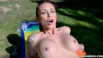 Inked splendor with the use of luscious boobs Monique Alexander takes on layer of fat hole