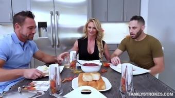 Amazing kitchen threesome along with voracious black Chandler az Marie