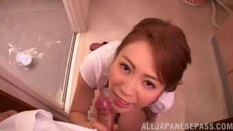 Japanese people moaner homemaker on top of her knee joints milking a shaft