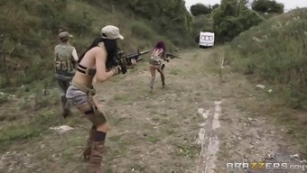 jasmine jae, monique alexander and stella cox are horny troopers throughout the objective