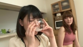 japanese girl beverage her buddies spit