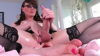 Twisted shemale in stockings Natalie Mars is toying lengthened anus gap