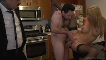 slutty milf alexis fawx fucks a big penis inside a the kitchen facing her hubby