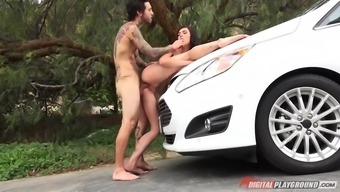 veteran hottie marley brinx gives mind within the auto and fucks on aside of it