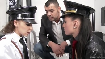 Henessy and Athina Love are girls in police uniforms in need of a threesome