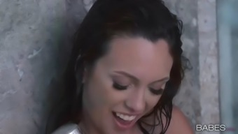 beautiful taking a shower with the use of perky boobed charmer emerald nile