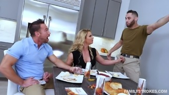Macho lively wifey Phoenix Marie lures hubby's pal for MMF 3some