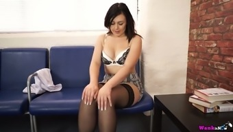 Blonde in beautiful stockings and lingerie Kacie James explodes her outfit