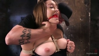 Bondage toddler Dani Daniels gets her pussy finger fucked at midnight room