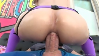 Oiled up anal passage opening of nasty hoochie Rebel Lynn is stretched by using a vast dong