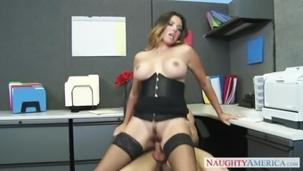 danica dillon wear stockings and corset tours her person-in-charge in the office