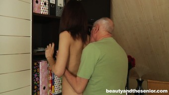 Slight brunette girlie with cute titties persuades old one to get twat make fun of