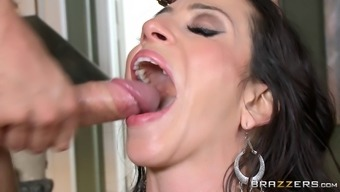 Sizzling cougar by using very long dim hair getting her asshole touched