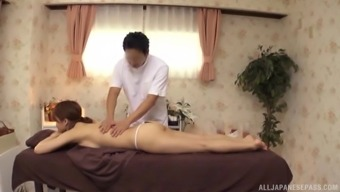 Japanese version with an arousing whole body gets an sensual massage