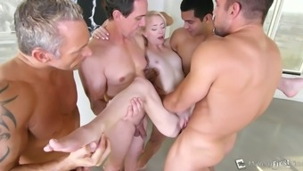 Appealing blonde beauty Maddy Rebeled gets drilled complicated in group bang