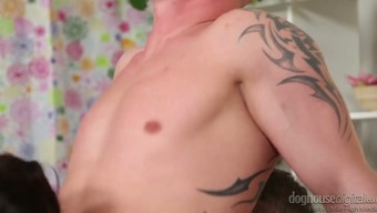 Twisted bisexual dudes fuck each other's asses and start to get sucked by one missy