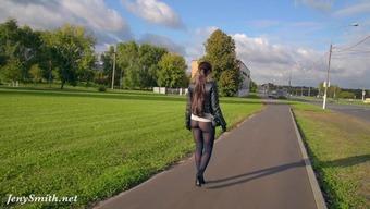 Jeny Smith pantyhose boasting in public park. inflation buttocks and community irregular