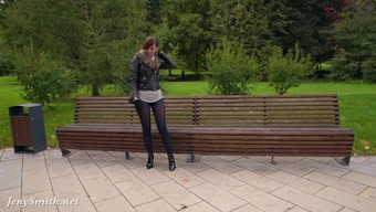 Jeny Smith pantyhose boasting in public park. inflation buttocks and community irregular