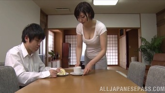 attractive japanese wife take pleasure in hardcore pussy licking action