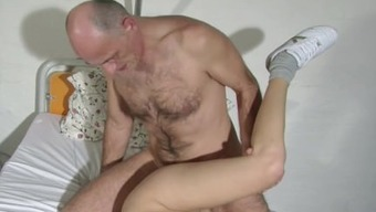 German old Grandpa attract his young Nurse