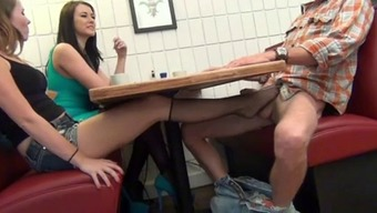 NOT Female offspring MAKESDAD Spunk Facing MUM WITH FOOTJOB