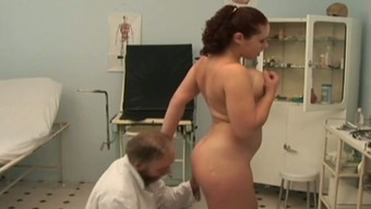 Busty Swedish player trudge fucks perverted old doctor in his place of work