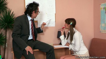 Sweet blond school love along with pigtails tries to hook her instructor