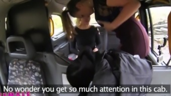 Ladies Fake Taxi Residents dildo produces squirting lesbian climaxing in taxi