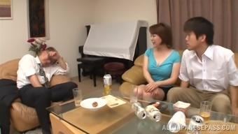 Asian milf is fucked childish through a a perverted stud