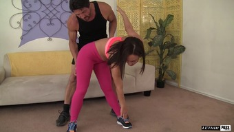 Her this type of fitness master aids her do the workouts then feeds her his penis