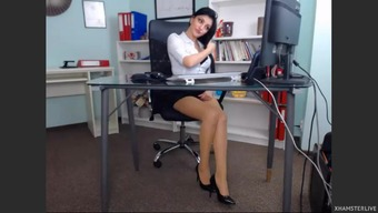 Stunning date in her own business office