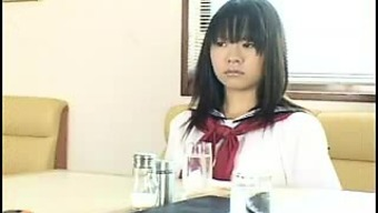Delightful Japanese schoolgirl in light panties gets pleased