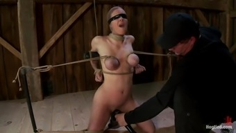 3 attractive prostitutes are bound to each other in servitude