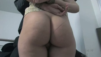 Repulsive nerdy pigtailed brunette gets skills busy behind back and lips exploded