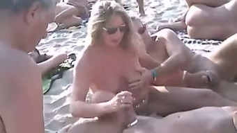 Only a adorable nudist shore combination of horny couples